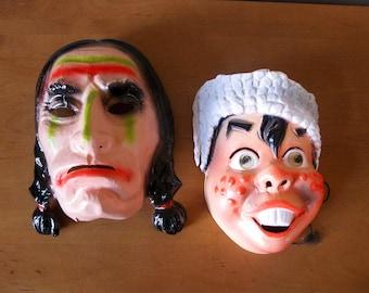 Set of 2 HALLOWEEN masks -INDIAN -Davy Crockett -retro Halloween masks -molded plastic -Halloween costume party -1960s- kids mask