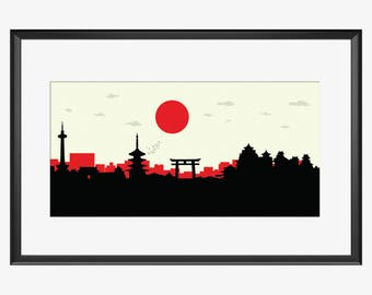 Kyoto skyline, Kyoto Japan, Kyoto print, Kyoto art, Kyoto poster