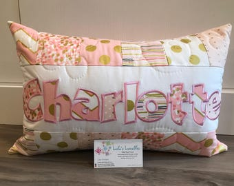 Pink and Gold personalized pillow case, 12x18 inches