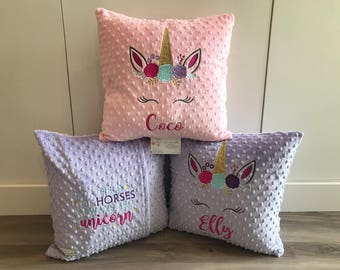 Embroidered unicorn pillow, personalized 16 inch, custom colours