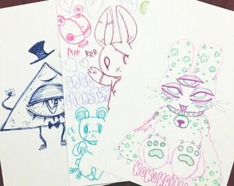 Pen Doodles OOAK Art Print Pack