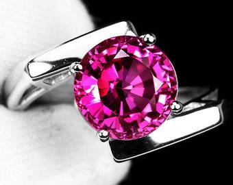 Ring silver Sapphire rose_traite_t53 Massif_Solitaire_Vrai 5.