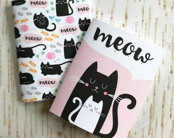 Set of 2 mini pocket notebooks // Kitties / Cats  // 40 lined pages