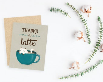 Thanks a Latte cozy cat thank you card / blank inside / kraft envelope