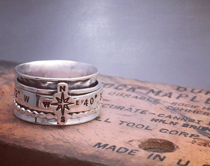 Featured listing image: Latitude and Longitude Spinner Ring