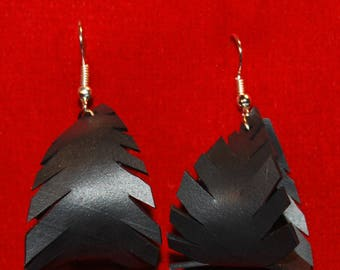 Returned bicycle inner tube feather earrings