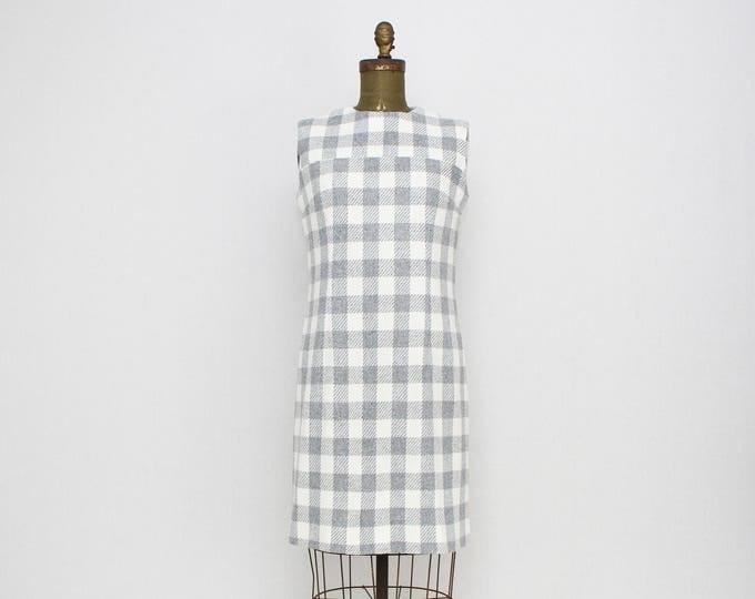 Vintage 1950s Grey and White Gingham Sheath Dress - Size Medium