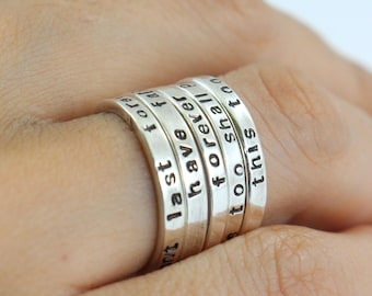 Personalized Sterling Silver Ring - Couples Ring- Anniversary Band - Hand Stamped - Engraved - Personalized Gift - Stack ring