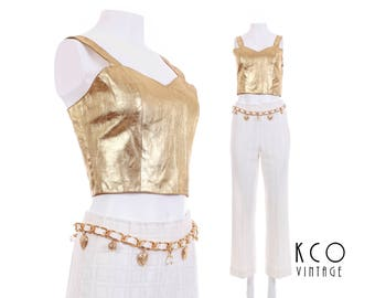 Gold Metallic Leather Crop Top Shiny Shirt Leather Top Bustier 80s 90s Crop Top Festival Top Vintage Clothing Women's Size XS