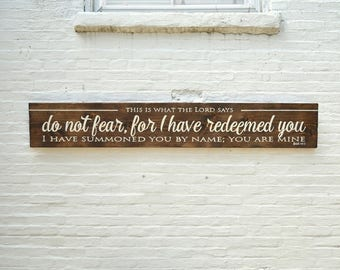 Do Not Fear - FREE SHIPPING - Large Hand Painted Wooden Sign - Wall Decor - Inspirational Sign - Scripture Sign