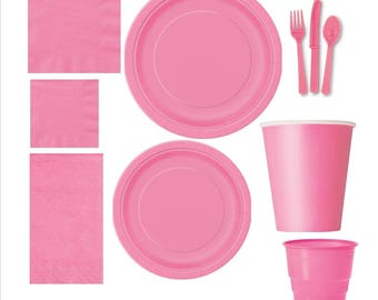 Hot Pink paper tableware, Hot Pink plates, Hot Pink cups, Hot Pink napkins, Hot Pink cutlery, Hot Pink party supplies, paper party supplies