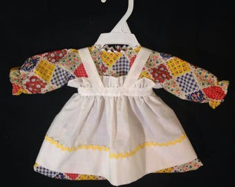 Dress and Apron for 20 inch Raggedy Ann doll;Red,Yellow, and Blue Patchwork dress,Embroidered Apron, Optional Personalization