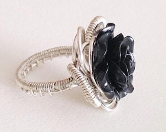 Black Rose Banded Handmade Wirewrap Ring size 7
