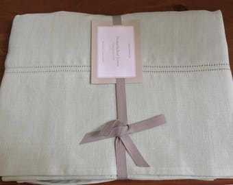 Vintage Sage Green Hemstitched Linen Table Cloth, Williams Sonoma, NeverUsed, Shabby Chic, Cottage, Country, Farmhouse Style, Interior Decor