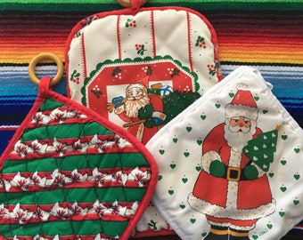 Vintage Christmas Hot Pads, Santa Pot Holders Set Of Three (3)