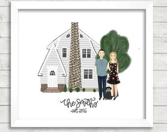 Custom Home Illustration PLUS Portrait Illustration| Couple Illustration| House Illustration| Family Portrait Illustration| Gift Idea