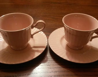 2 Vintage Mikasa Potpourri Rose Blush Cups and Saucers