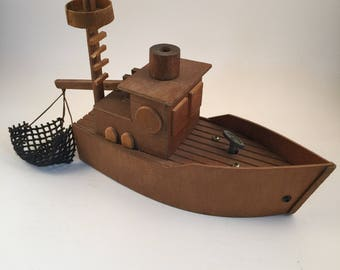 Musical Fishing Boat with Mechanical Net