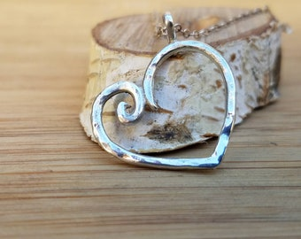Hammered sterling silver heart pendant sterling silver heart hammered sterling silver pendant heart pendant heart necklace spiral heart