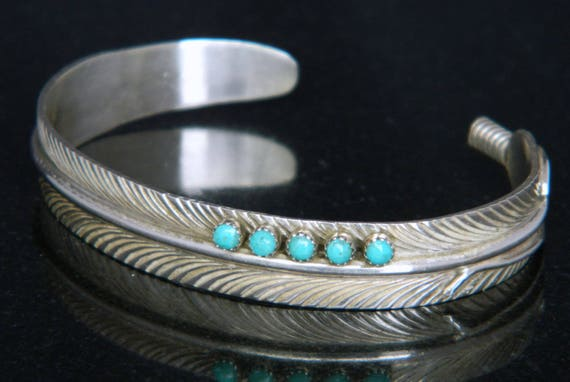 Native American Navajo Turquoise Sterling Silver Feather Cuff Bracelet Signed Darlene Begay 15.5 grams