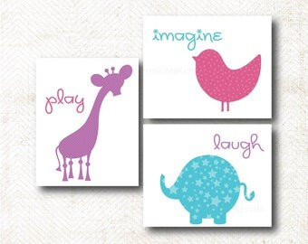 Nursery Art Print, Play, Imagine, Laugh, Art Print Set