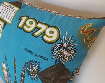 1979 Calendar tea towel Aboriginal Art vintage tea towel cushion cover