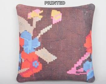 orange floral pillow orange throw pillow orange decorative pillow orange kilim pillow orange pillow cover orange pillow case cushion 274-40
