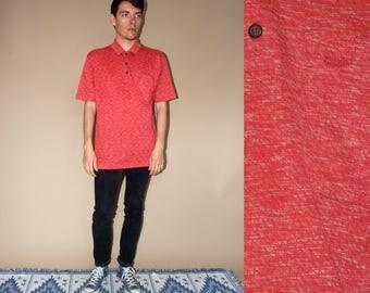 80's vintage men's red patterned T-shirt