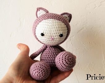 Pink and white old crochet amigurumi cat toy