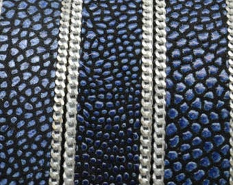 """SALE:   Per 8""""  15mm Blue/Black Ray with Silver Chain, Flat Leather with Chain"""