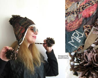 Brown Pompom Hat Embroidered Beanie Animal Print Hat Pompom Earflap Hat Pop Art Clothing Upcycled Clothing Patchwork Denim Hat Brown Winter