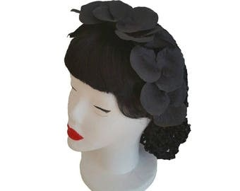 Glamoures Gothic Black Head Piece with Hair Snood, Silk Petals and Head Band