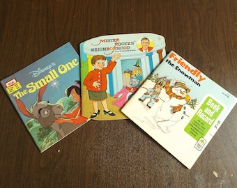 Vintage Children's Books Mister Rogers' Neighborhood The Costume Party Friendly the Snowman Record Disney The Small One PB