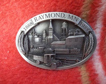 Vintage Belt Buckle---Raymond, Minnesota 1885-1985 Centennial
