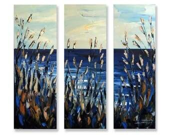Beach Painting, Palette Knife Painting, READY TO SHIP, Original Oil, Textured Art,36x36,Art,Large Wall Canvas,Beach Art,Landscape Art