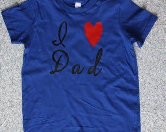 Father's Day Blue I Love Dad Tshirt!