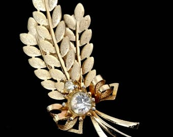 Sarah Coventry Wheat Harvest Time Rhinestone Brooch, Vintage Costume Jewelry