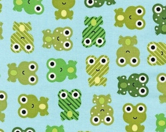 END-OF-BOLT - Sale - Green Frog Fabric  - Urban Zoologie by Ann Kelle from Robert Kaufman. Frogs on Sky Blue. 100% cotton. Measures 19x44