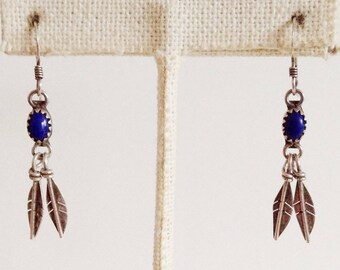 Navajo Vintage Lapis Sterling Silver Double Feather Earrings Signed R H