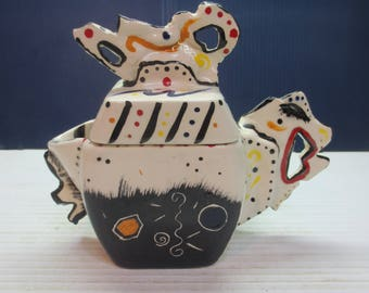Very Colorful Artsy Creamer Or Pitcher Maybe A Chicken Shape