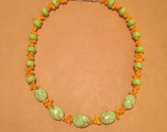 Apple green howlite with orange bamboo coral