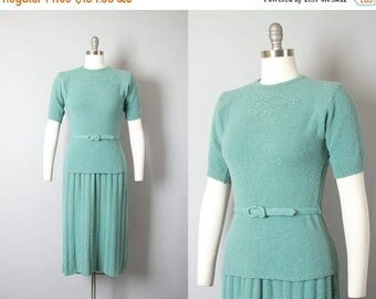 20% OFF SALE Vintage 1950s Knit Set | 50s Boucle Wool Green Sweater Top Skirt Set with Belt (small/medium)
