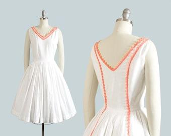 Vintage 1950s Dress | 50s White Cotton Sundress Pink Fringe Trim Full Skirt Day Dress (xs)