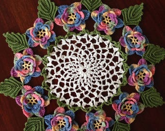 """11.5"""" Variegated Rose Doily, Floral Doily"""