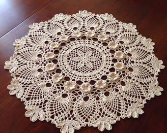Large Round Ecru Doily, Gardenias in Bloom, Handmade Crochet, Floral Doily