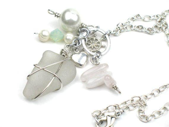 Silver Handmade Necklace with Sea Glass, Real Pearls, Rose Quartz Points, Silver Plated Charms, Swarovski Crystal and Silver Chain