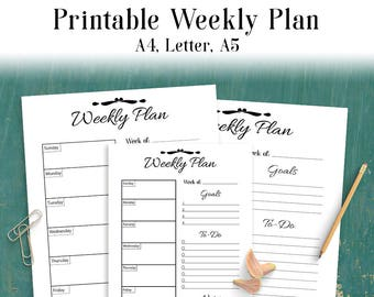 Weekly Plan Printable, Weekly Planner, Weekly Organizer, Weekly To-Do List, Weekly Schedule Inserts, Desk Planner, A4, Letter, A5, PDF