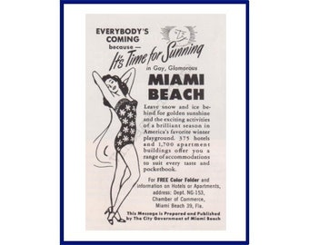 "MIAMI BEACH FLORIDA Original 1953 Vintage Print Ad - ""Everybody's Coming Because It's Time For Sunning In Gay, Glamorous Miami Beach"""