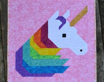 """Rainbow Unicorn 24"""" mini Quilt for Sale, modern patchwork, Wall Hanging or Table Decor, nursery girl room wall art quilt"""