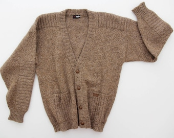 Vintage Sweater // Men's Brown Grandpa Cardigan with Pockets // Bleyle Sweater